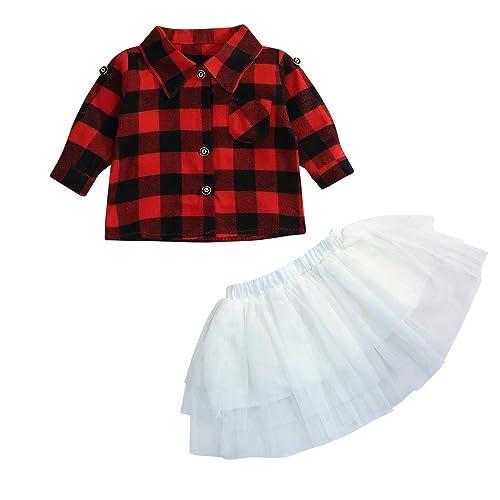 f8a9b08c8 Baby Girls 2Pcs Dress Set Button Down Plaid Flannel T-Shirt + Sweet Tutu  Skirts