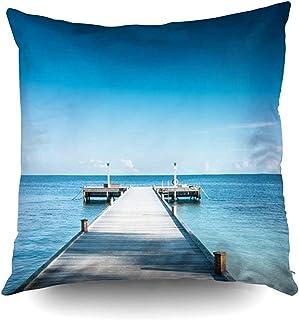 Ducan Lincoln Pillow Case 2PC 18X18,Fundas De Almohada Muelle De Madera La Costa Tropical Cielo Azul Claro Algunas Nubes Pascua Ambos Lados Imprimir Fundas De Almohada Cojín,Azul Turquesa