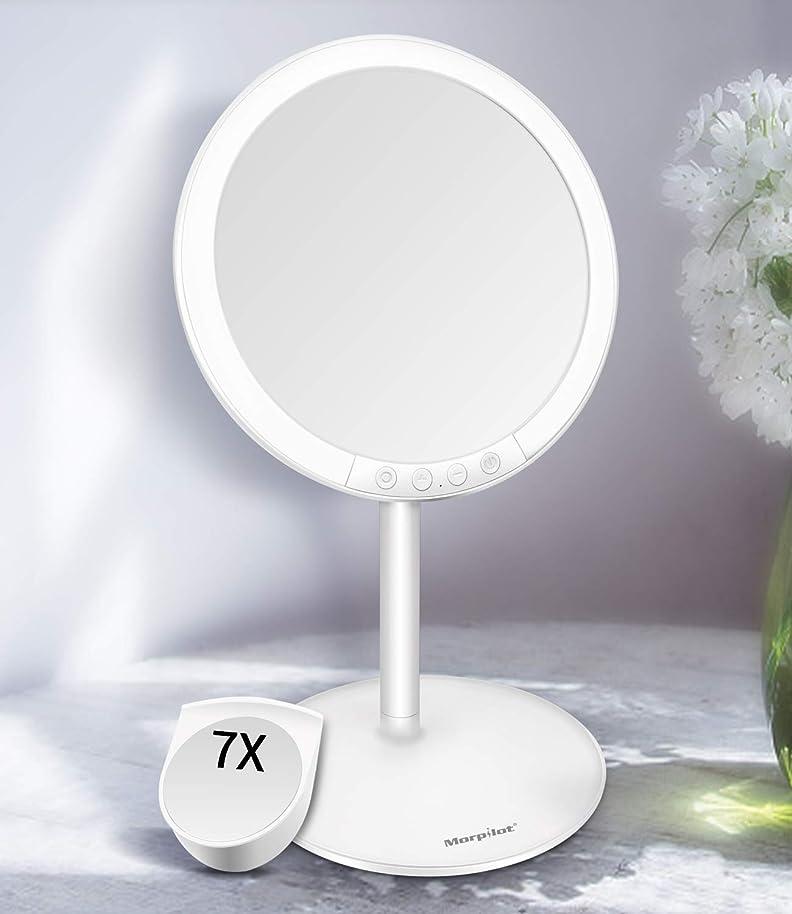 発信事業内容面Motpilot 化粧鏡 卓上ミラー 鏡 化粧ミラー 女優ミラー LEDミラー スタンドミラー USB充電式 寒暖色調節可能 明るさ7段階調節可能 7倍拡大鏡付き 120°回転 ホワイト