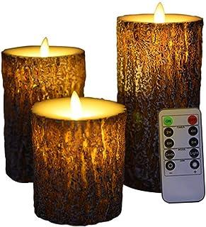 ledキャンドル ライト 3本+リモコンセット 蝋製 木目調 電池式 火を使わない タイマー 点灯モード切替 間接照明 卓上ライト led 寝室 クリスマス [S/M/L各1本]