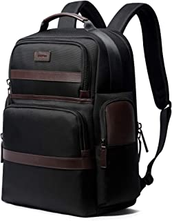 """Bopai Luxury Style Leather & Microfibre Anti-Theft Business and Travel with USB Charging Backpack B7301 Black 15.6"""" Laptop"""