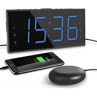 Mesqool Reloj Despertador de vibración Fuerte,