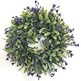 DishyKooker Artificial Wreath Green Leaves Round Wreaths,Door Wreath,Four Seasons Decor with Linden Fruit and Green Leaves,for Living Room Wall Garden Wedding Festival Decor,with powder(30cm/11.8in)