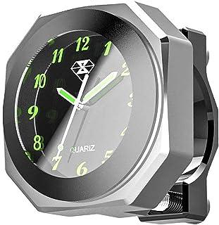 Folconauto Motorrad Fahrradzubehör Lenkerhalterung Watch,wasserdichte nachtleuchtende Digitaluhr Lenkeruhr Universal (Silber)