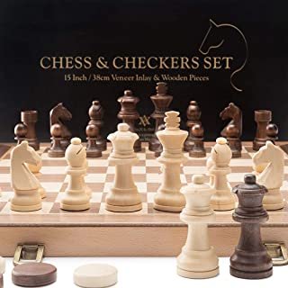 Best chess checkers set wood Reviews