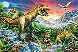 FAWFAW Puzzle 1000 Piezas, Mundo De Dinosaurios Bosque Primitivo