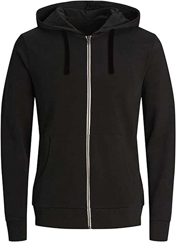 Mens Hoodies Pullover Casual Plain Zip up Athletic Sweatshirt Long Sleeve Men Gym Hoodie Drawstring Outwear