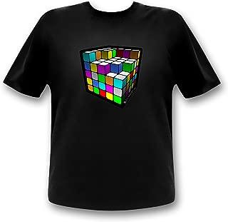Cube Equalizer LED T-Shirt Party Retro Shirt Würfel Party Shirt
