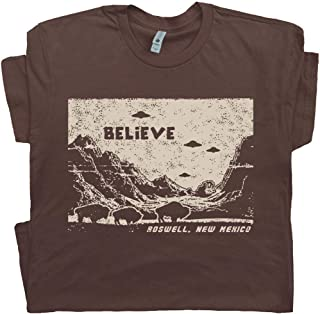 UFO T Shirts Believe Roswell Tee New Mexico Area 51 Alien Graphic Flying Saucer Science Fiction