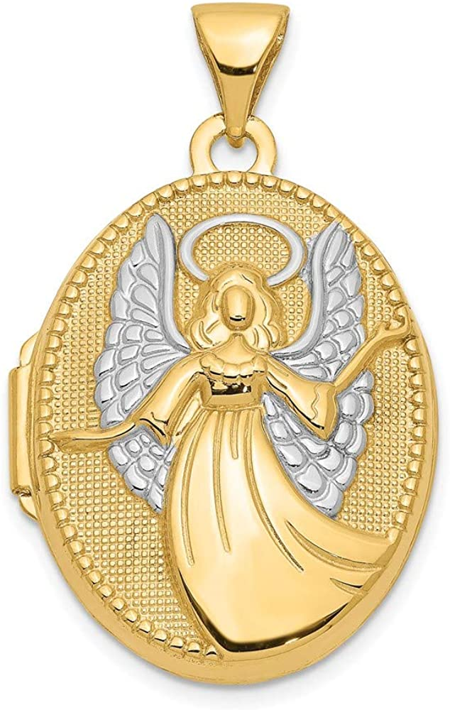14k Yellow Gold 21mm Oval Guardian Angel Photo Pendant Charm Locket Chain Necklace That Holds Pictures Fine Jewelry For Women Gifts For Her