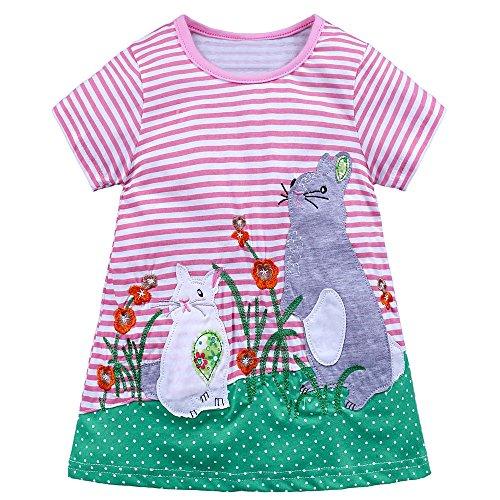 Kehen Kids Toddler Girl Summer Animal Print Dress Stripes Short Sleeve Playwear Dresses (Pink, 18 Months)
