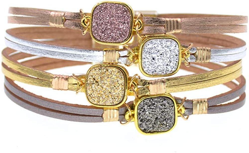 Metal Max 71% OFF Charm Bracelets Leather For Bra El Paso Mall Women Wrap Men's