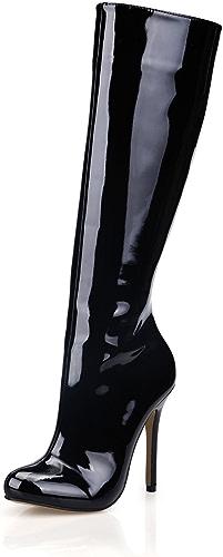 LYNXL Le Nouveau Côté Zip Noire Cuir Vernis Talon Haut Chers Minimaliste de démarrage Haute LO et Boîtes