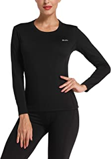 Willit Women's Thermal Underwear Top Fleece Lined Long Sleeve Shirt Midweight Base Layer Long John