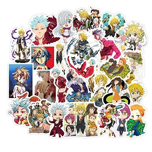 BLOUR 10/30/50 unids/Pack Anime japonés los Siete pecados Capitales Pegatinas para Motocicleta portátil computadora Coche Juguetes para niños refrigerador