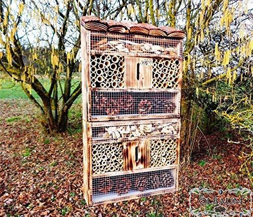 Große Nistkästen XXL Insekten insektenhotel, mit Holzrinde-Naturdach, FDV-Host-OS gebrannt geflammt schwarz Natur Deko