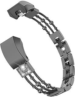 Wearlizer Compatible Metal Fitbit Alta Bands for Women Small Fitbit Alta hr Women Metal Replacement Bands Accessories Straps Bracelet Bangle Wrist Bands Small Large (Black)