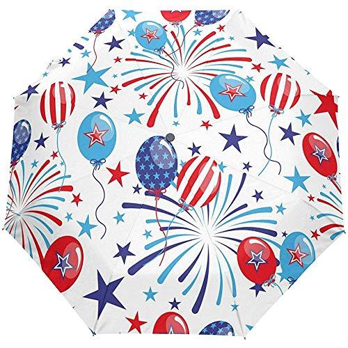 American Stars Stripes Feier Red Navy Auto Öffnen Schließen Regenschirme Anti UV Folding Compact Automatic Umbrella