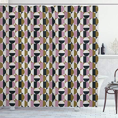ABAKUHAUS Retro Cortina de Baño, Patrón geométrico Bauhaus, Material Resistente al Agua Durable Estampa Digital, 175 x 220 cm, Multicolor