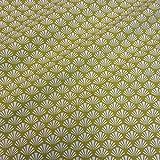 Stoff Meterware Baumwolle Fächer grün weiß Avocado Japan