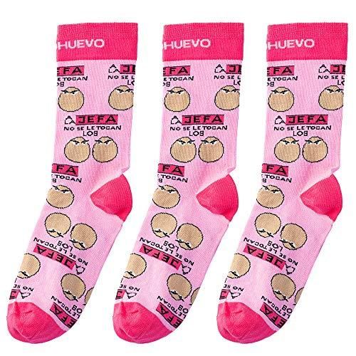 mundohuevo Trio de calcetines originales y personalizados, ideal para regalo. Trio calcetines, 1 gratis por el que se te pierde.