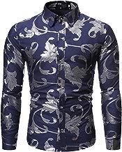 SXZG Camisa de Hombre de Otoño E Invierno Estampado En Caliente Casual Hombre Impresión de Estilo Hawaiano Camisa Europea Y Americana Camisa de Flores de Manga Larga para Hombre