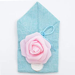 50 Pack Rose Burlap Bag with Drawstring, Candy Gift Bags for DIY Craft Wedding Favors Party Christmas,Blue,10x17cm