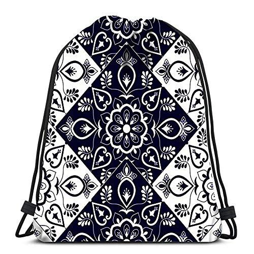 Lmtt Kordelzug Taschen Rucksack Italienische Fliese Mit Schuppen Blau Und Weiß Mosaik Ornamente Portugiesisch Azulejo Mexikanische Turnsäcke Rucksack Schulter
