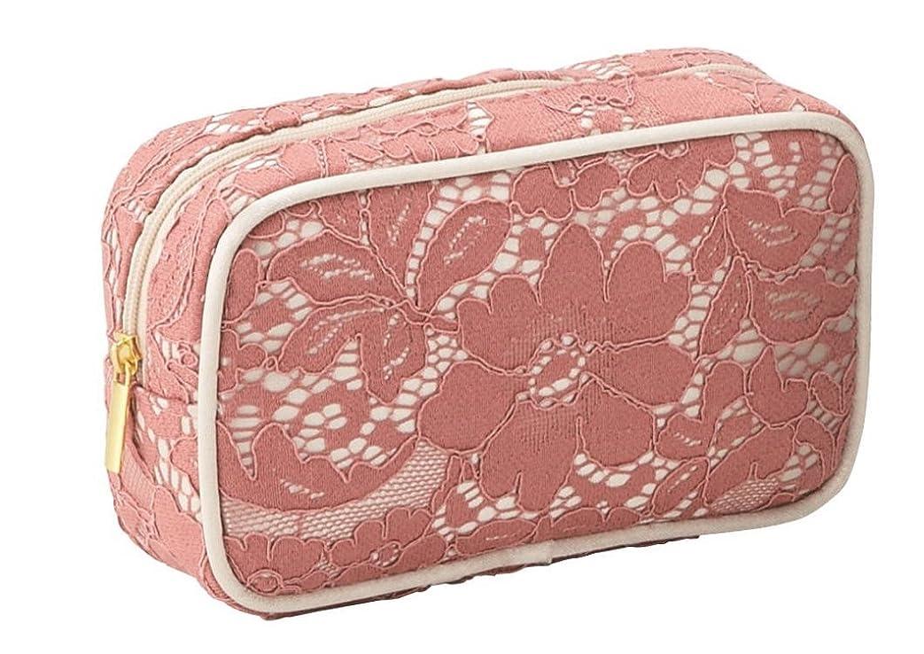ケント逆説使役エレガントなレース仕様 ボックス型 化粧ポーチ コスメポーチ メイクグッズの収納 (ピンク)