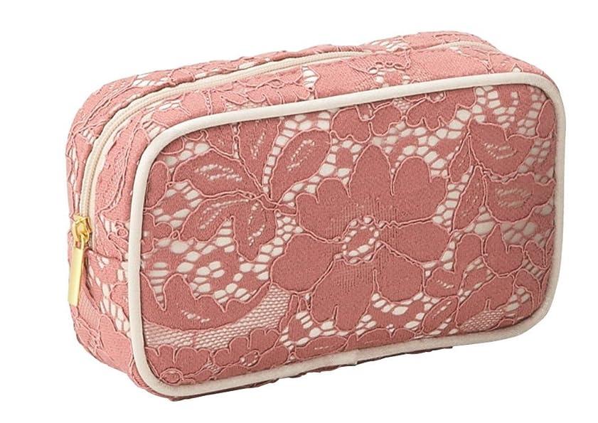彼らの役に立つ小道具エレガントなレース仕様 ボックス型 化粧ポーチ コスメポーチ メイクグッズの収納 (ピンク)