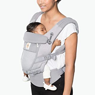Ergobaby Adapt Ergonomic Multi-Position Baby Carrier with Cool Air Mesh (7-45 Pounds), Pearl Grey
