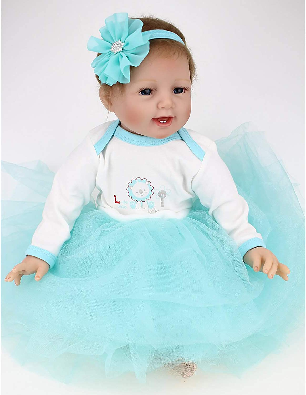 envío gratuito a nivel mundial LHKAVE Realista Reborn Baby Doll, 22 Pulgadas recién Nacido Suave Suave Suave Vinilo de Silicona Realista ponderado bebé Azul Falda niña Niño Regalo Conjunto  minoristas en línea