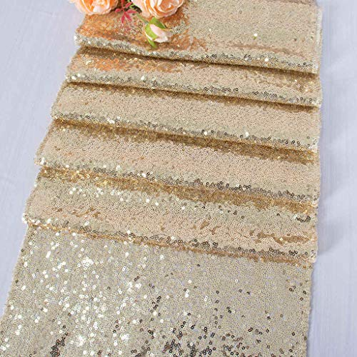 ShinyBeauty Runner da Tavolo in Paillettes Oro Chiaro Scintillante Decorazioni per Matrimoni/Eventi 30 * 180 cm (può Scegliere Il Colore) (Colore Oro Chiaro)