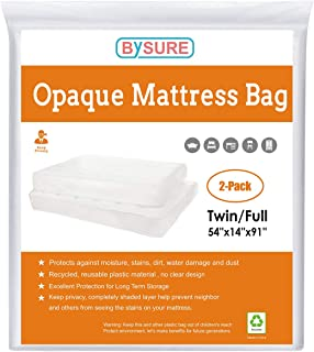BYSURE 2 Pack 5 Mil Extra Thick Opaque White Mattress Bag for Moving and Storage - Not Clear - Mattress Cover for Privacy, Fits Twin/Full Size