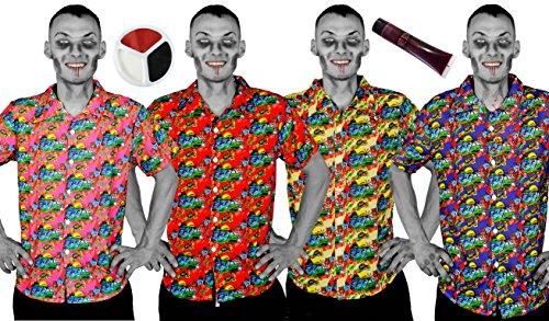 Disfraz turstico de Zombies para adultos con camiseta de HAWAIIAN rosa, sangre falsa y pintura facial  Disfraz de haloween perfecto o vestido de fantasa  Tamao: mediano