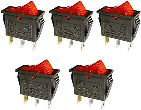 5 Pcs AC 16A/250V 20A/125V 3 Pin Switch 2 Position Red Light On Off SPST Boat AC Rocker Switch KCD3 Switch