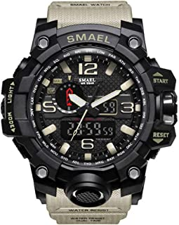 DYTA Analog-Digital Watches for Men LED Dual Display Sport Wrist Watches 5ATM Water Resistant Outdoor Calendar Watch Military JP Quartz Stopwatch with Rubber Strap Relojes De Hombre