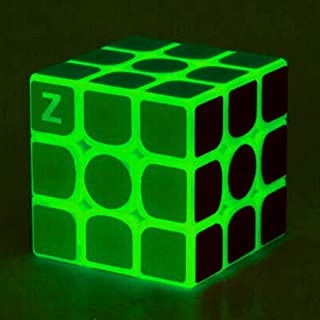 TANCH Glow in Dark Speed Cube 3x3 Green Light Magic Cube Puzzle Toy Half Transparent
