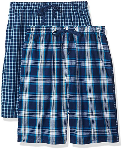 Hanes Men's 2-Pack Woven Pajama Short, Dark Blue, X-Large