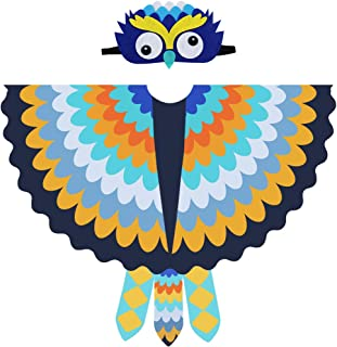 Kids Owl Costume Boys Bird Wing Shawl with Feathered Mask for Girls Halloween Dress Up