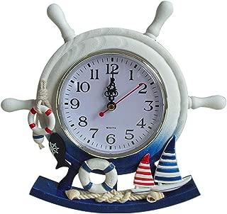 Wooden Rudder Clock Mediterranean Style Table Clock Beach Sea Theme Home Decor Creative Ship Steering Clock (not Contain battery)