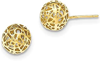 Jewels By Lux 14K White Gold Madi K Laser Cut 5M Ball Post Earrings