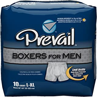 Prevail Maximum Absorbency Incontinence Boxers for Men, Large/Extra Large, 10-Count