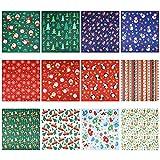 YARNOW 12 Unidades de Tela de Cuarto Grueso de Navidad 48X52 Cm Paquete de Cuadrados de Costura Acolchado de Tela de Algodón Artesanal Precortado Hojas de Cuadrados para Patchwork