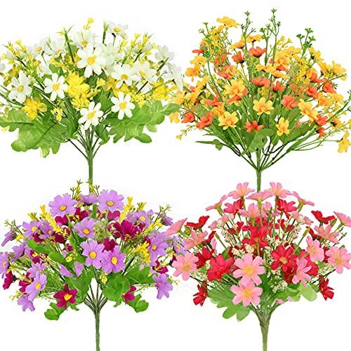 Künstliche Blumen,Gefälschte Kunstblumen Grün Seidenblumenstrauss UV-beständige Pflanzen Sträucher Unechte Blumen Innen Draussen für Balkonkästen Zuhause Garten Hochzeit Party Office Dekor