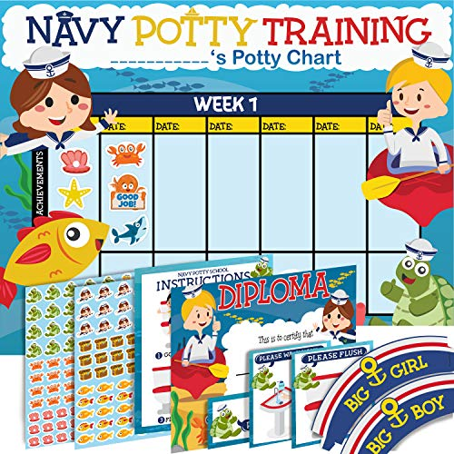 Potty Training Chart for Toddlers - Sea Design - Sticker Chart - 4 Week Reward Chart - 214 Cute Stickers, Certificate, Instruction Booklet & Motivational Cards - Bonus Celebratory Hat