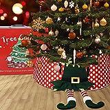 JoyTplay Decoración de Navidad Falda de árbol de Navidad con Pies de Elfo Collar de 77 cm de diámetro Durable Base de Árbol de Navidad Cubierta de Navidad Fiesta Decoración de Tienda (Elfos)