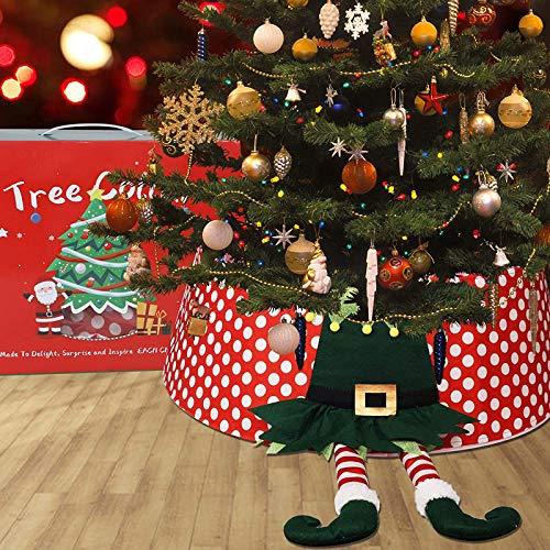 JoyTplay, decorazione natalizia per albero di Natale, con collare a piedi da elfo, diametro 77 cm, resistente copertura per base per albero di Natale, festa di Natale, decorazione per la casa (elfi)