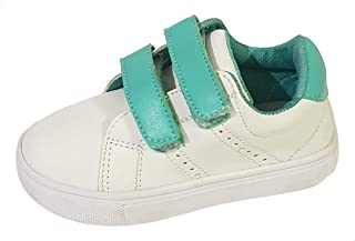 Skippy Two-Tone Faux Leather Round-Toe Velcro-Closure Sneakers for Boys