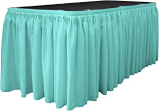 LA Linen LA Linen Polyester Poplin Table Skirt 21-Foot by 29-Inch Long with 15 L-Clips, Light Turquoise